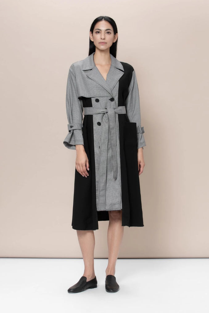 Dalston Upcycled Wool Trench in Black