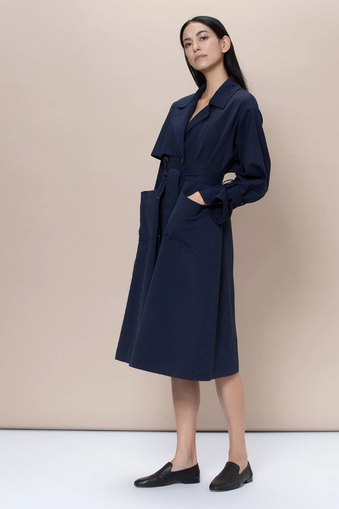 Dalston Upcycled Cotton & Wool Trench in Navy