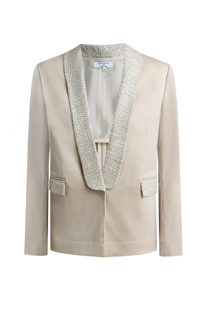 Tweet Trimmed Handmade Wool Blazer in Beige