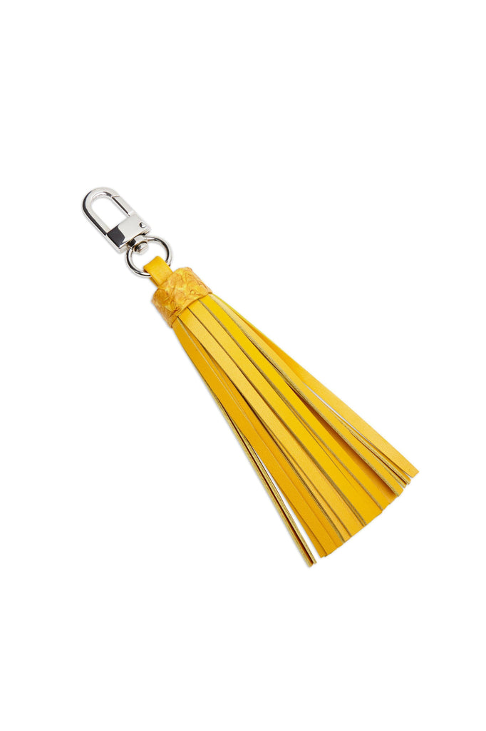 Salmon By-product Leather Tassel Charm in Yellow