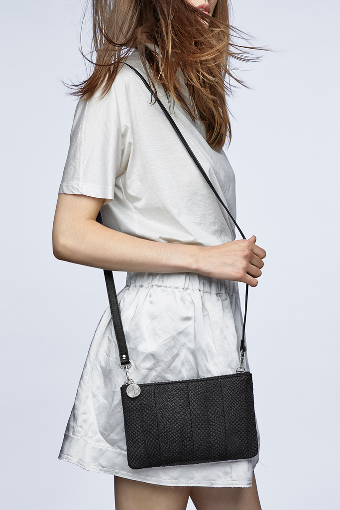 Inger By-product Salmon Leather Shoulder Bag in Black - Mini to Regular
