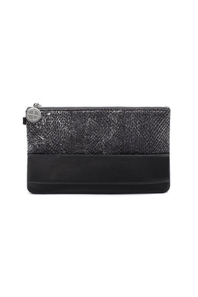 Nina By-product Salmon Leather Small Handbag Clutch in Black-Silver