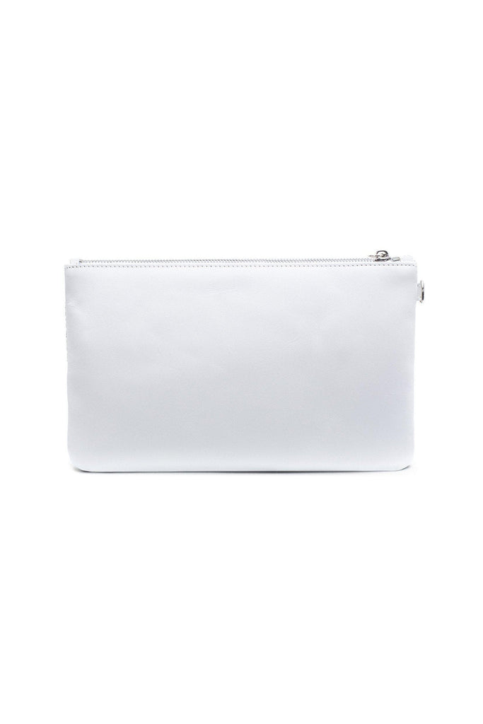 Nina By-product Salmon Leather Small Handbag Clutch in Arctic White