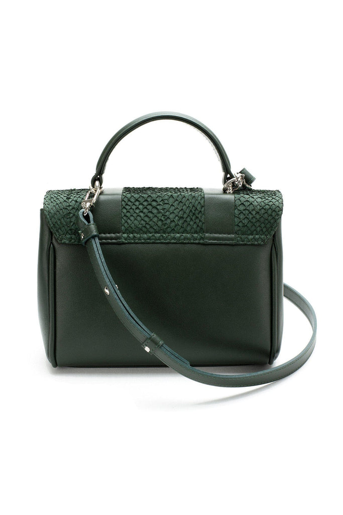 Lillian By-product Salmon Leather Mini Top Handle Bag in Green