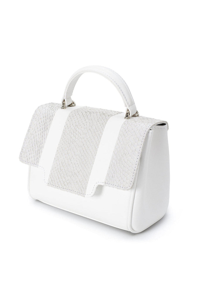 Lillian By-product Salmon Leather Mini Top Handle Bag in White