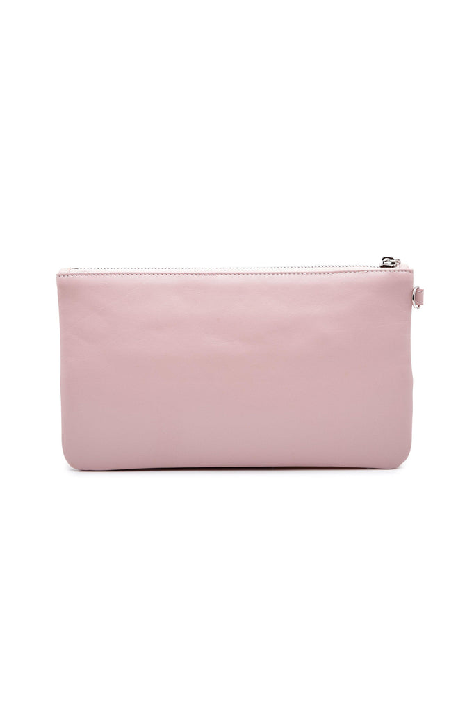 Nina By-product Salmon Leather Small Handbag Clutch in Pink
