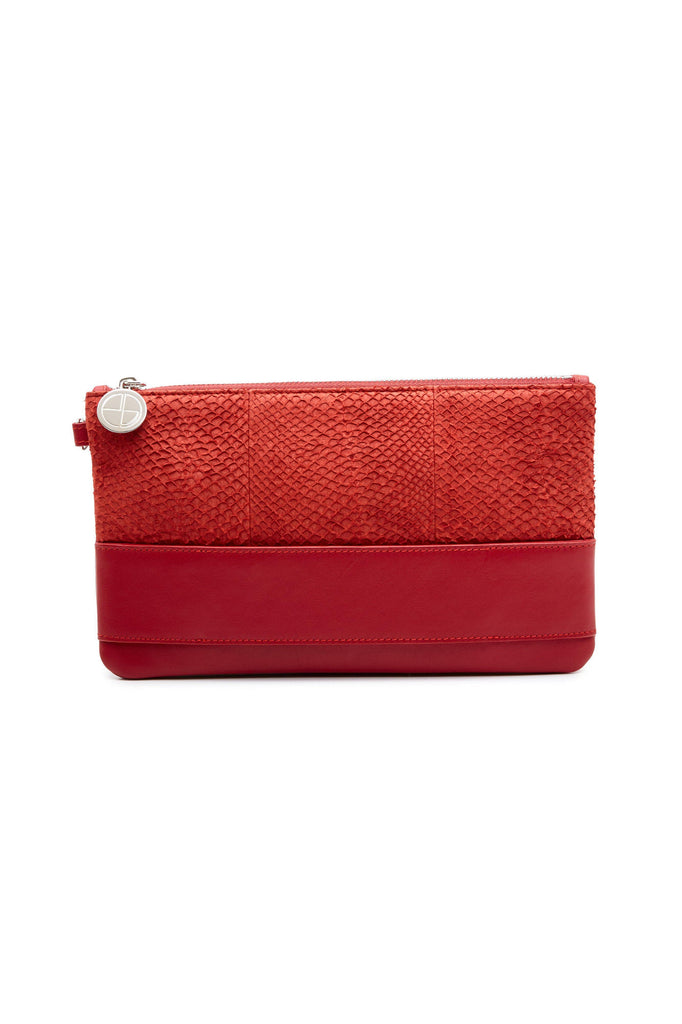 Nina By-product Salmon Leather Small Handbag Clutch in Red