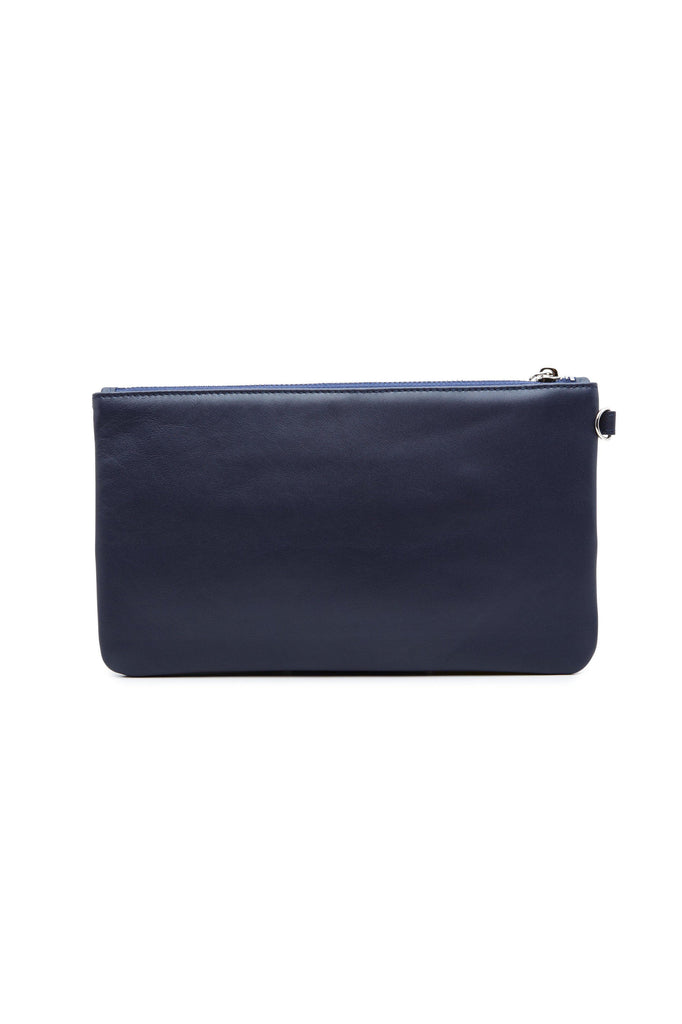 Nina By-product Salmon Leather Small Handbag Clutch in Arctic Blue