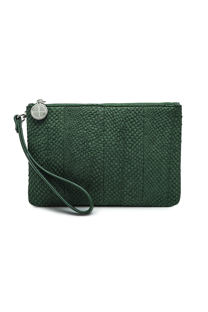 Inger By-product Salmon Leather Shoulder Bag in Green - Mini to Regular