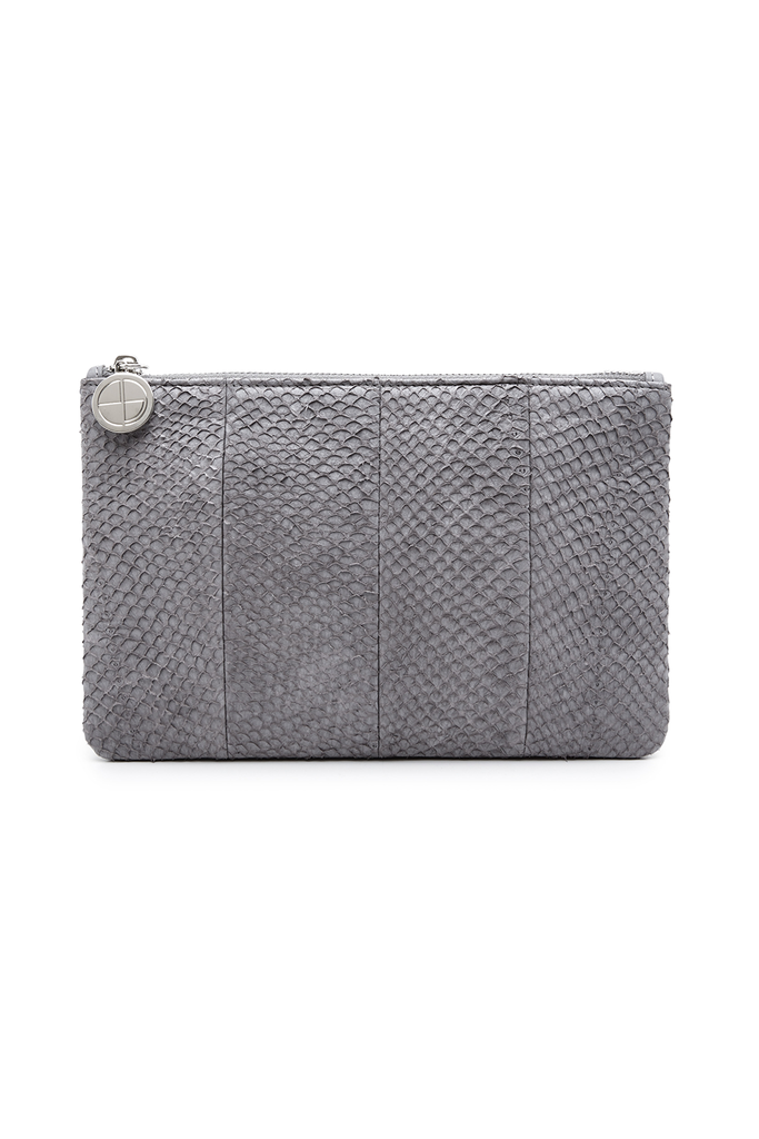 Inger By-product Salmon Leather Shoulder Bag in Gray - Mini to Regular