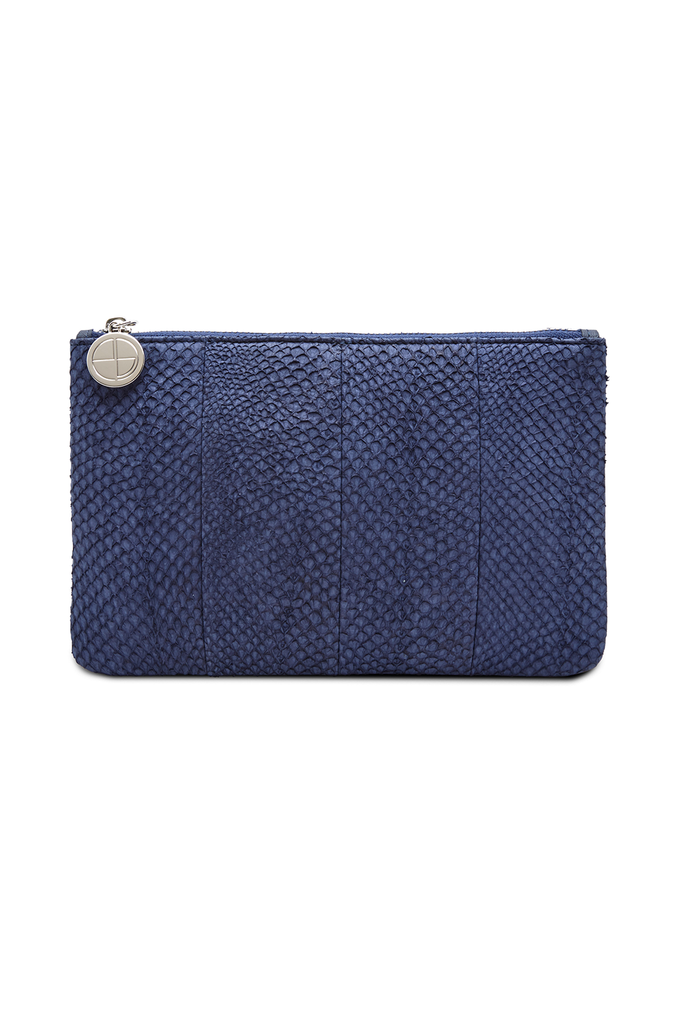 Inger By-product Salmon Leather Shoulder Bag in Blue - Mini to Regular