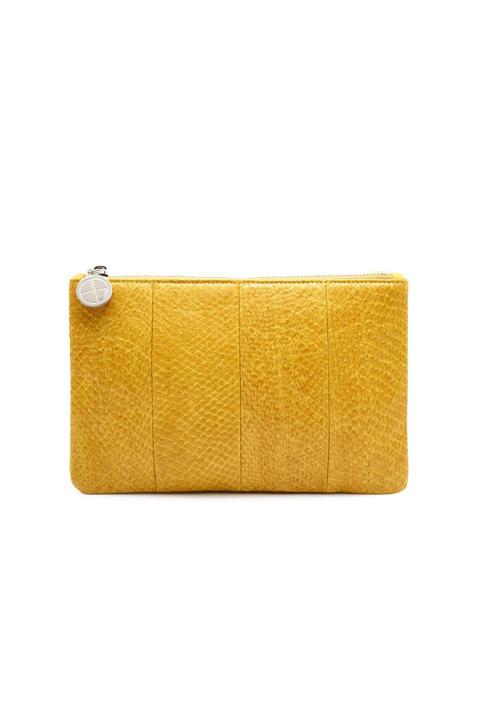 Inger By-product Salmon Leather Midi Shoulder Bag Pouch in Yellow
