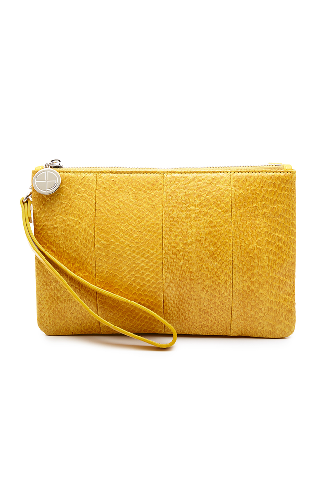 Inger By-product Salmon Leather Shoulder Bag in Yellow - Mini to Regular