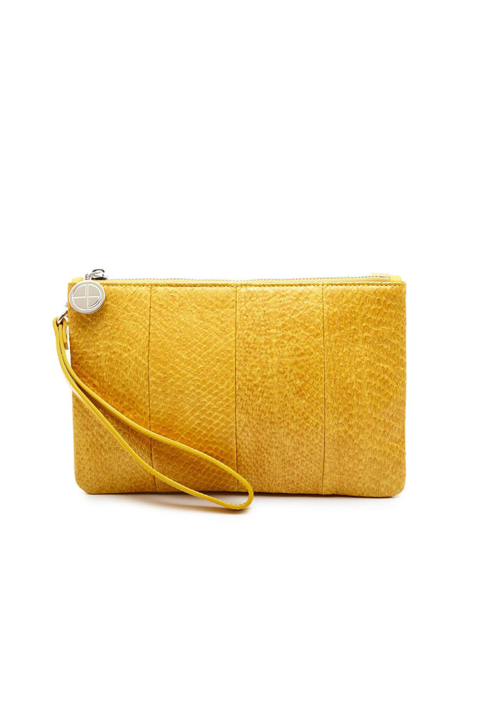 Inger By-product Salmon Leather Regular Shoulder Bag in Yellow