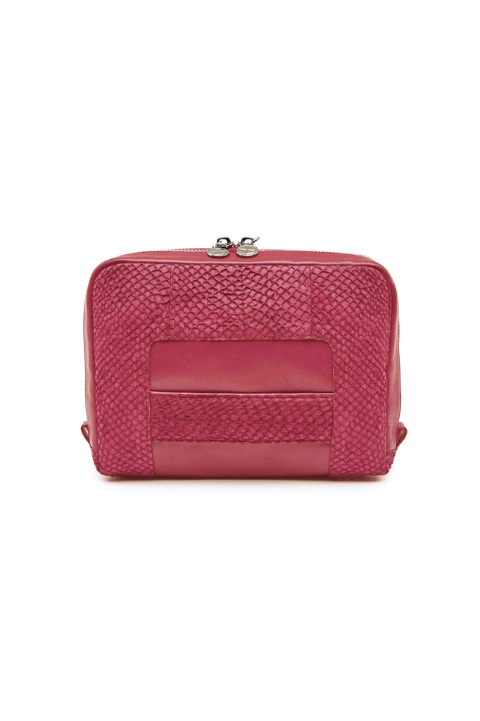 Lilli By-product Salmon Leather Shoulder Bag Clutch in Midnight Pink
