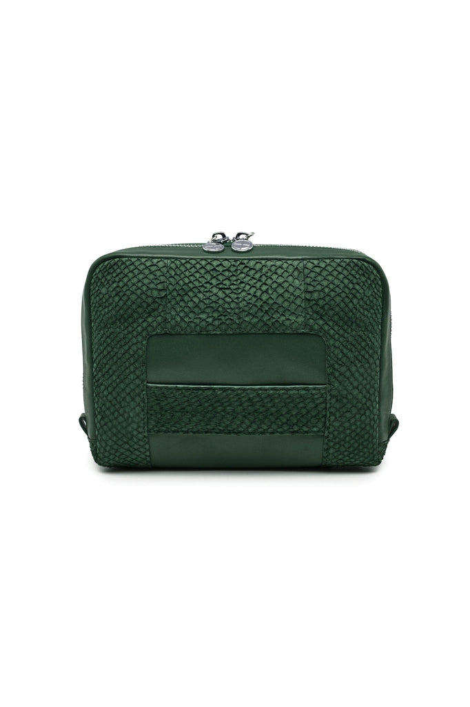 Lilli By-product Salmon Leather Shoulder Bag Clutch in Green