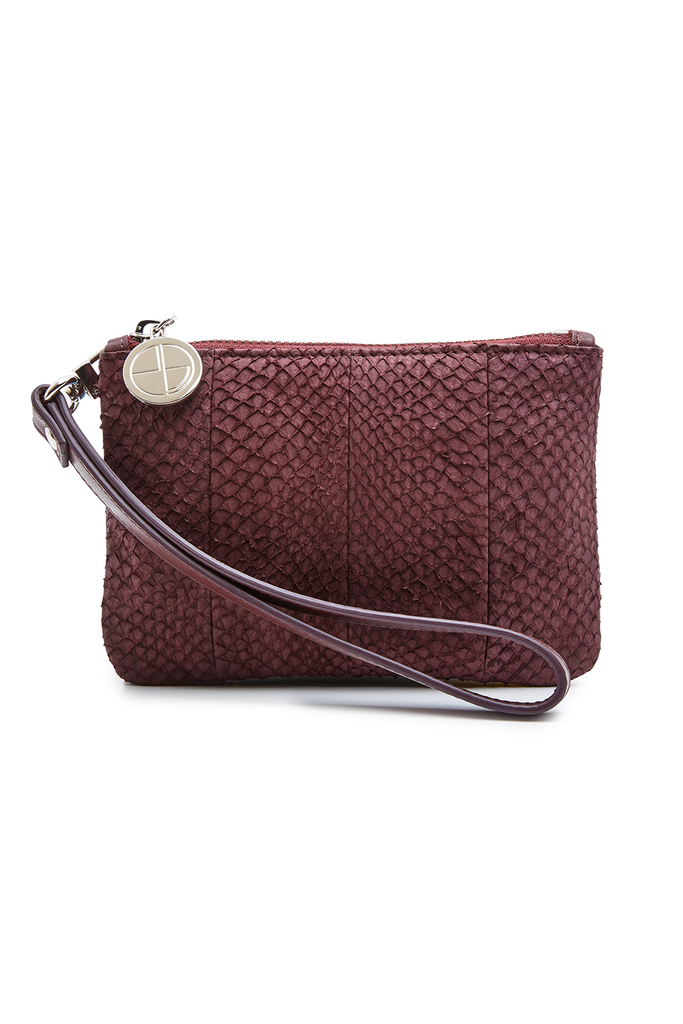 Inger By-product Salmon Leather Shoulder Bag in Wine -  Mini to Regular