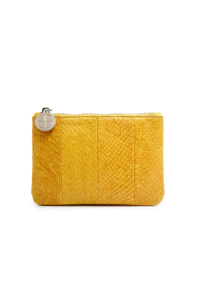 Inger By-product Salmon Leather Mini Shoulder Bag Pouch in Yellow