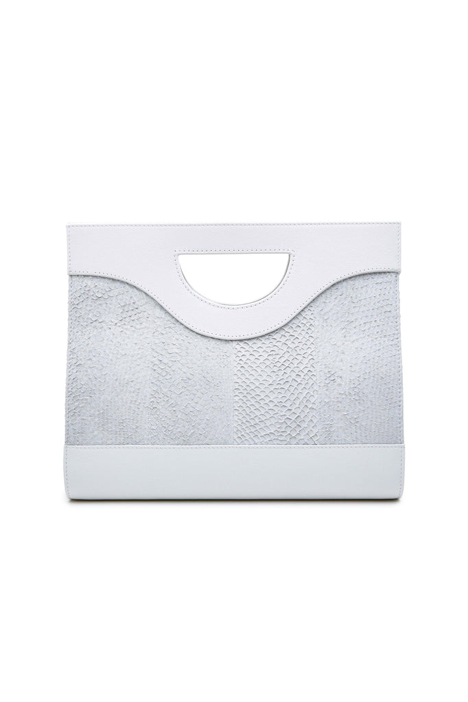 Jenny By-product Salmon Leather Top Handle Bag in White