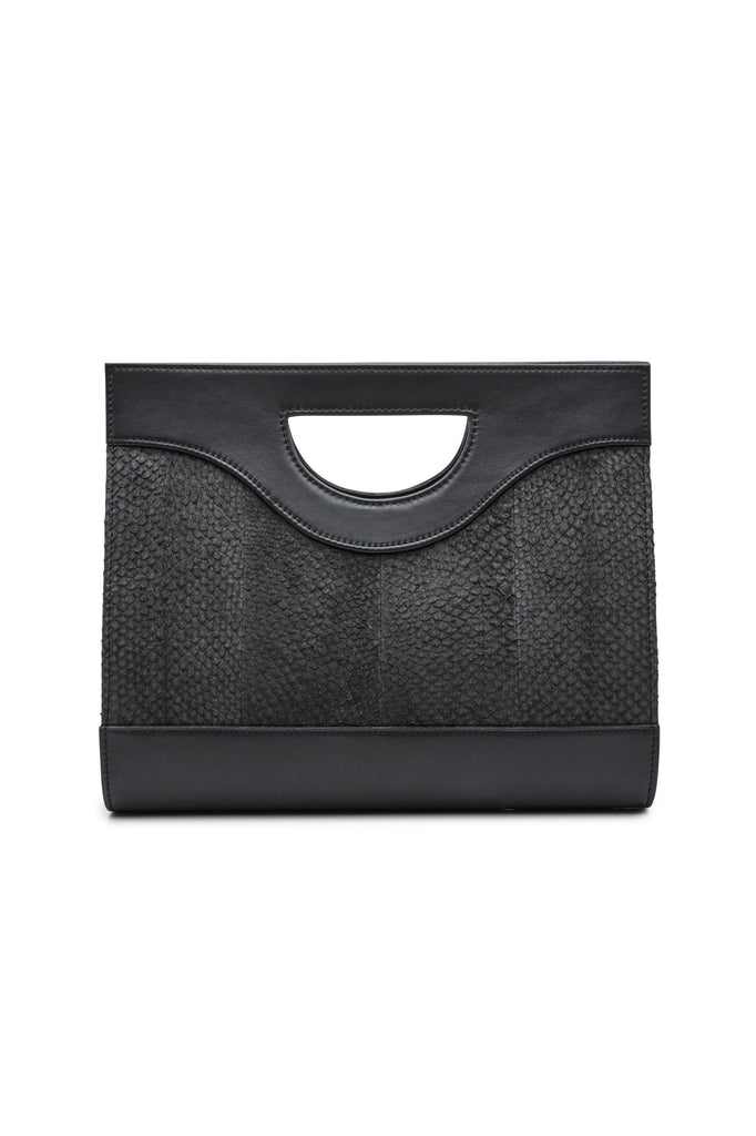 Jenny By-product Salmon Leather Top Handle Bag in Black