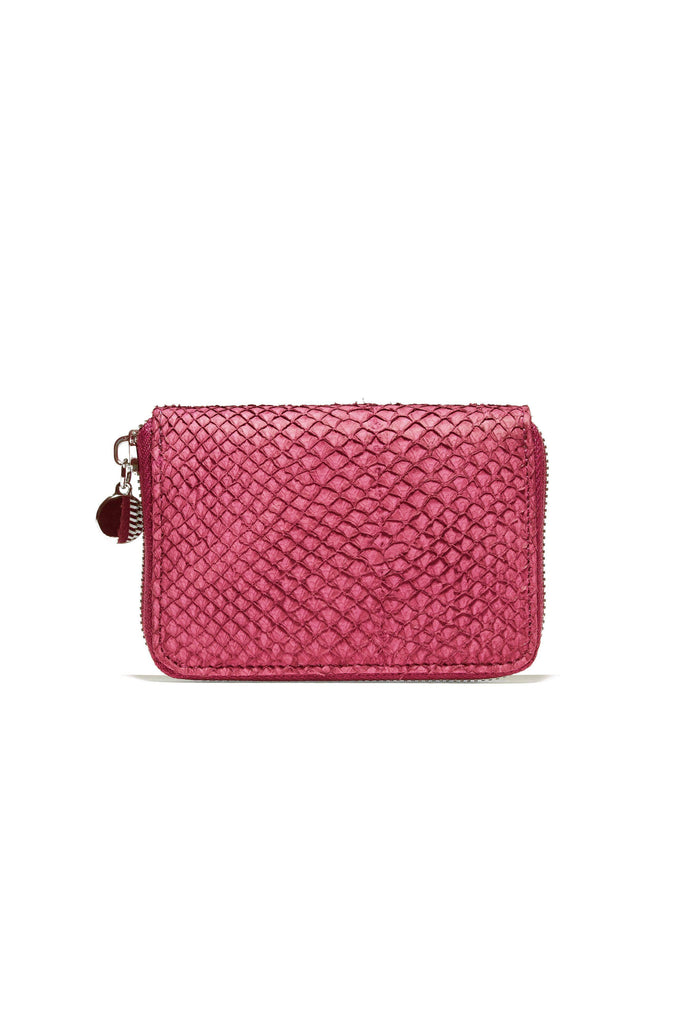 Salmon By-product Leather Mini Wallet in Midnight Pink