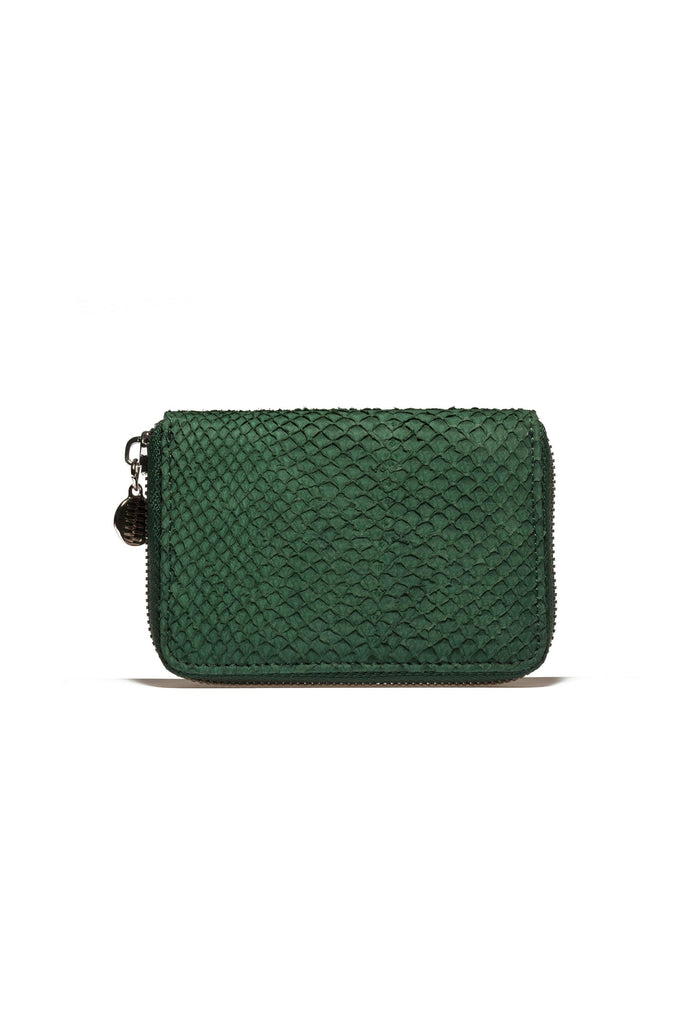 Salmon By-product Leather Mini Wallet in Green