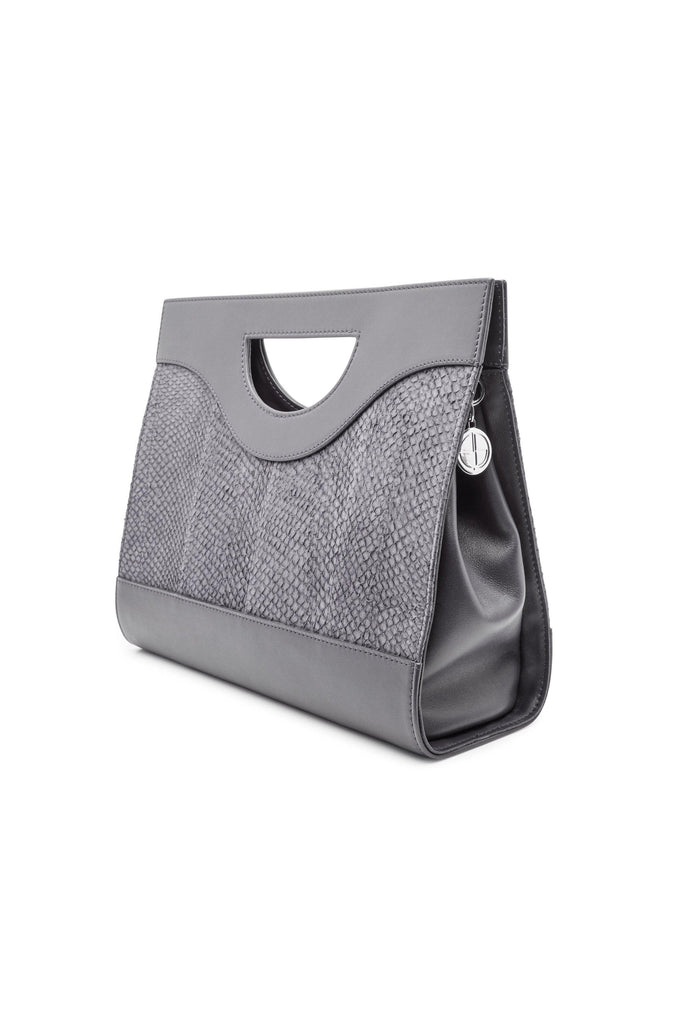 Jenny By-product Salmon Leather Top Handle Bag in Grey