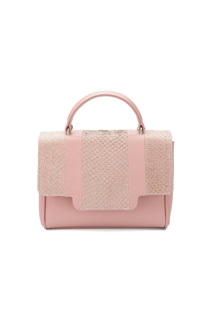 Lillian By-product Salmon Leather Mini Top Handle Bag in Pink