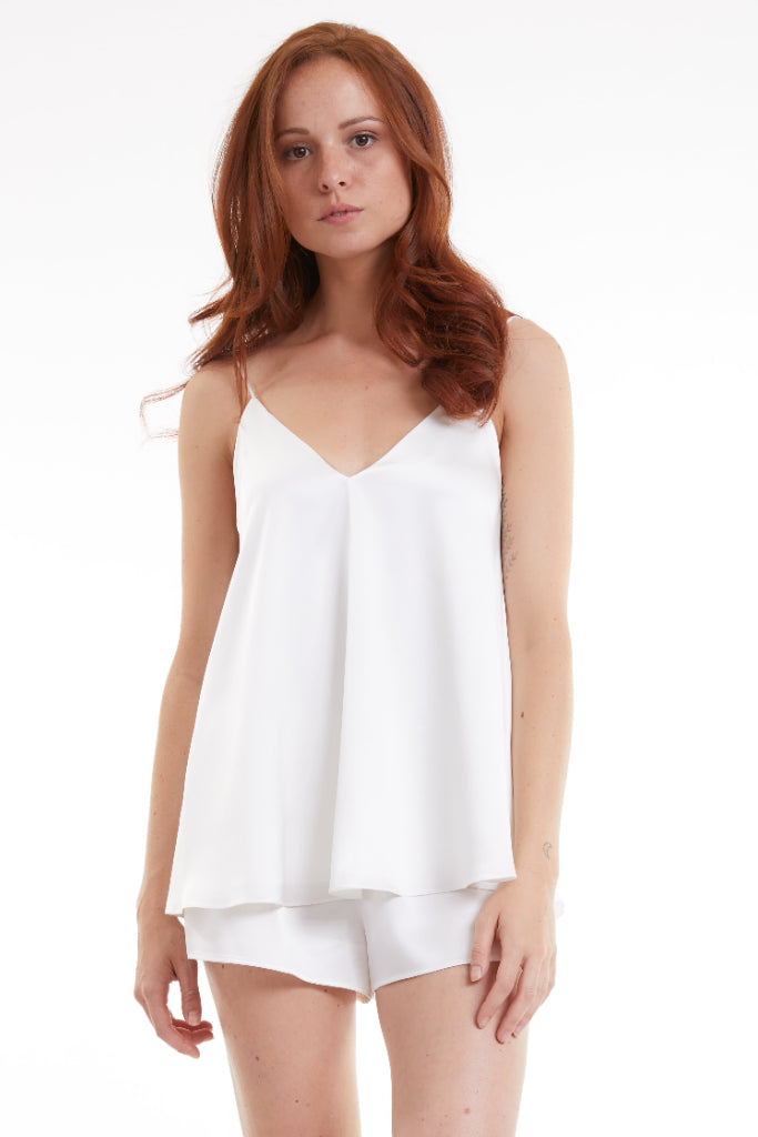 Organic Peace Silk Camisole Sleep Set in Ivory