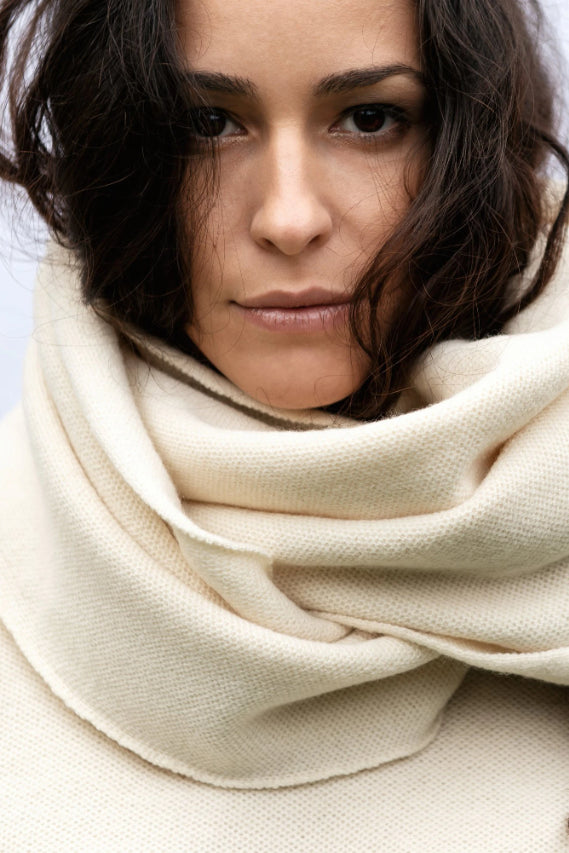 Magnolia Ethical Merino Wool Scarf in White