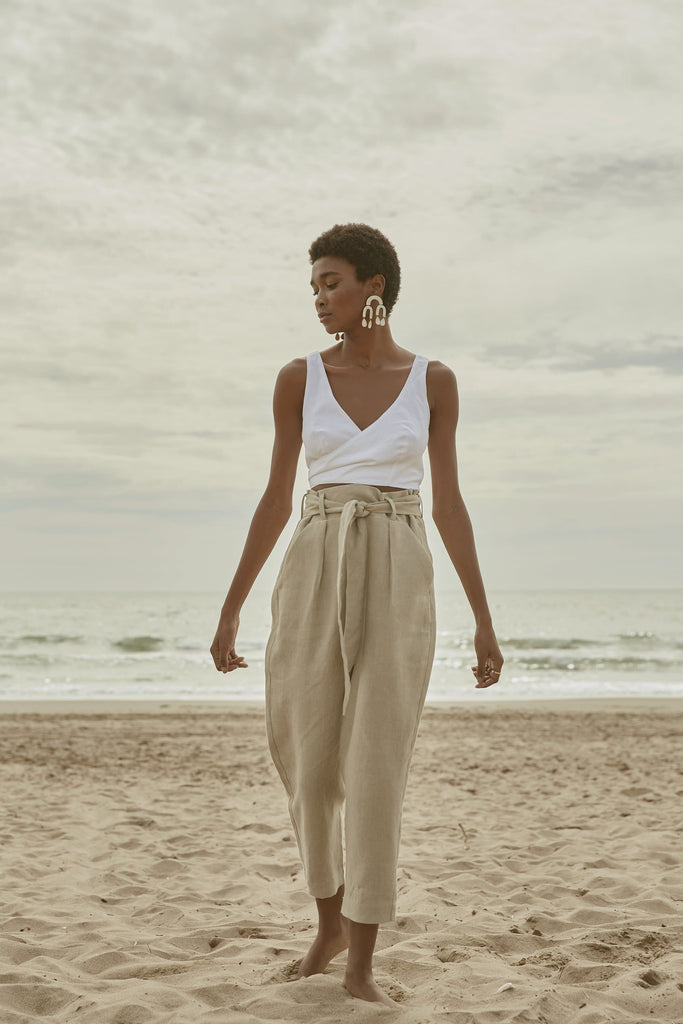 Organic Linen Belted Trousers in Beige or Black