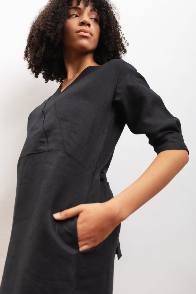 Bluebell Ethical & Vegan Hemp Dress in Black