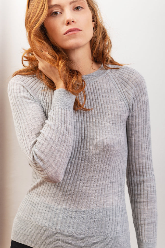 Scilla Ethical Merino Wool Sweater in Gray