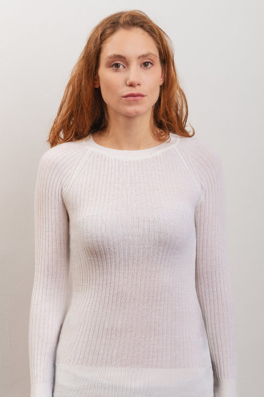Scilla Ethical Merino Wool Sweater in White
