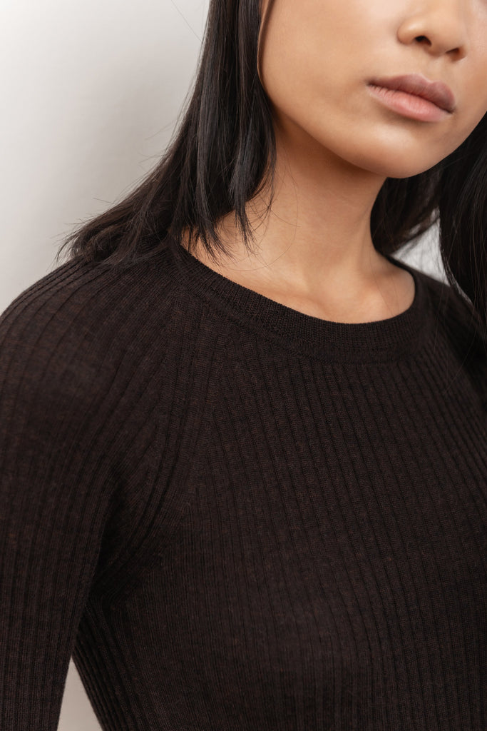 Scilla Ethical Merino Wool Sweater in Chocolate