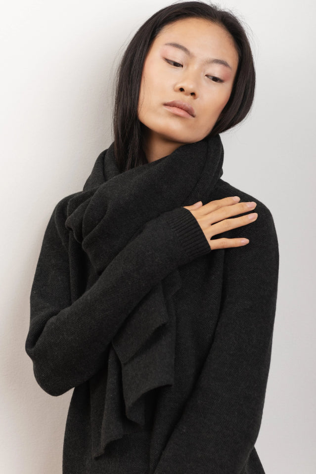 Magnolia Ethical Merino Wool Scarf in Black Wood