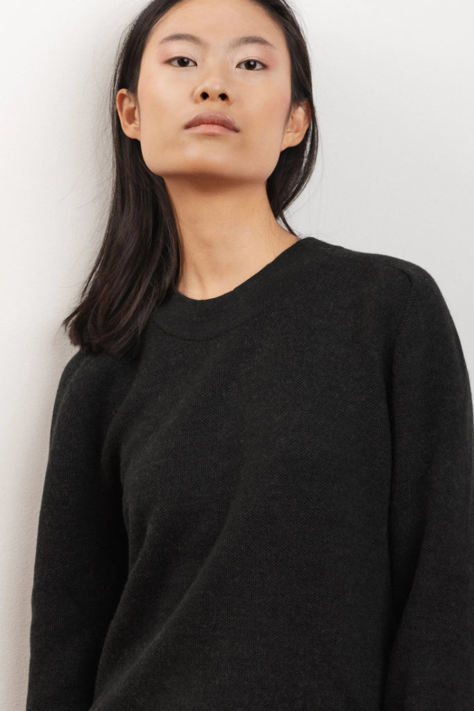 Dalhia Ethical Merino Wool Sweater in Black Wood