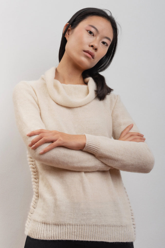 Allium Handmade Merino Wool & Mohair in White