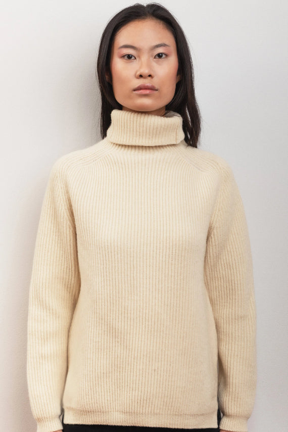 Peony Ethical Merino Wool Sweater in White Juniper