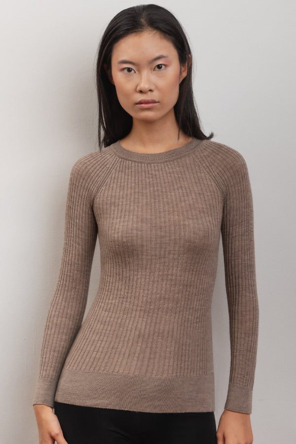 Scilla Ethical Merino Wool Sweater in Sand