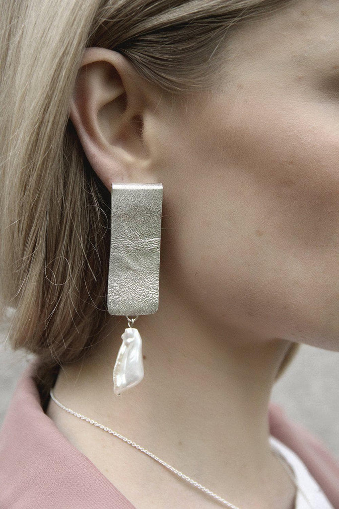 Folded Recycled Sterling Silver Pearl Earrings