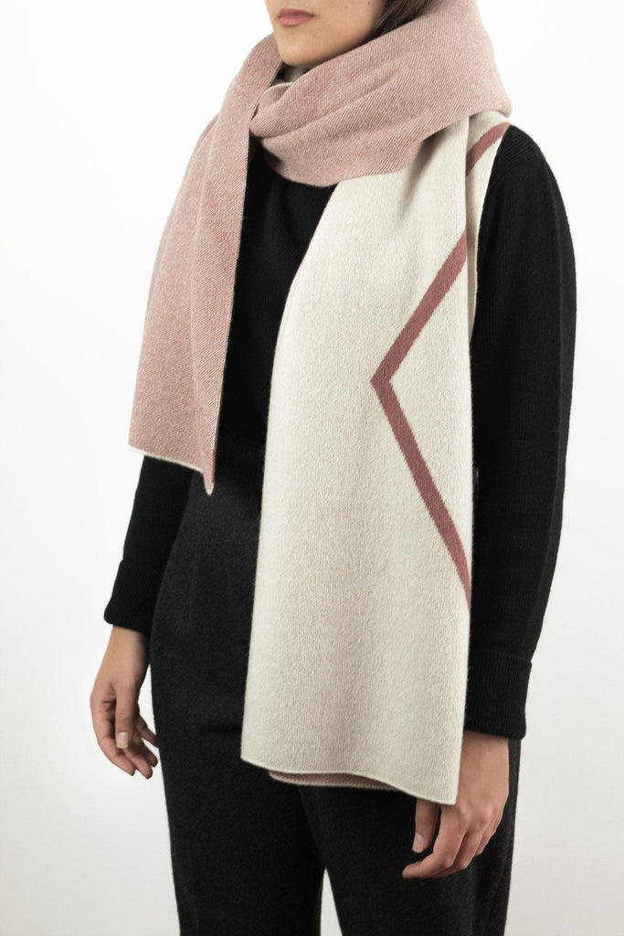 Francis Monogram Superfine Wool Scarf - Off-white Berry