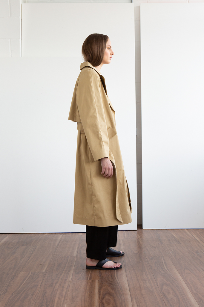 James Organic Cotton Gabardine Trench Coat in Stone