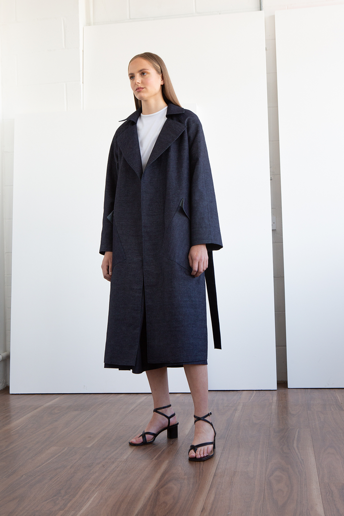 Jamie Organic Cotton Denim Trench Coat in Indigo