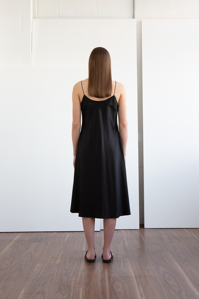 Len Peace Silk Dress in Black
