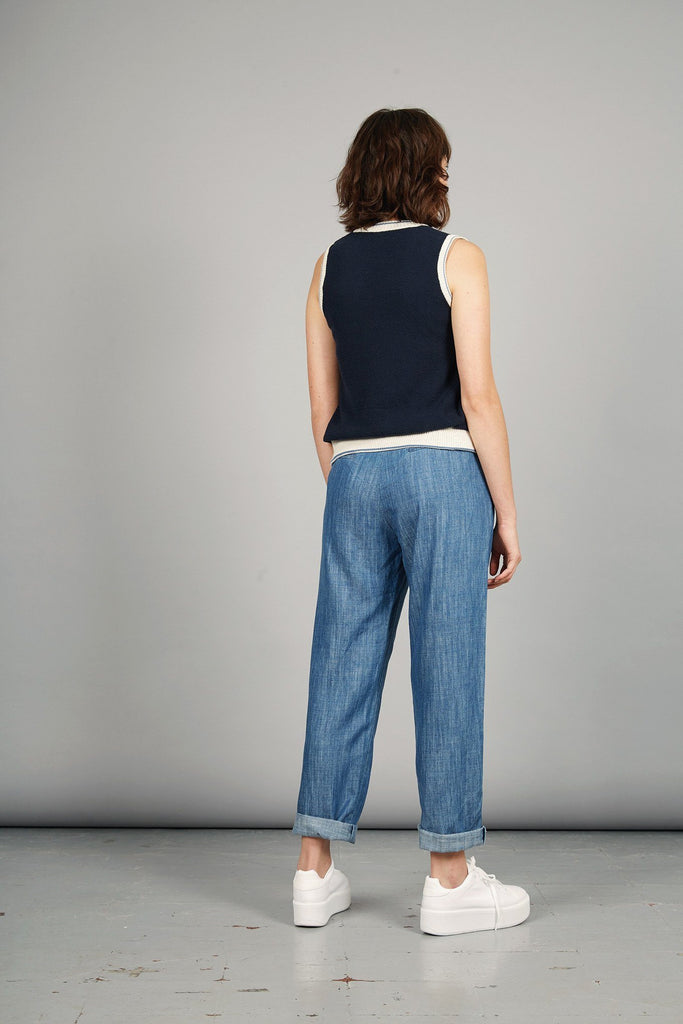 Lila Tencel & Linen Trousers in Indigo