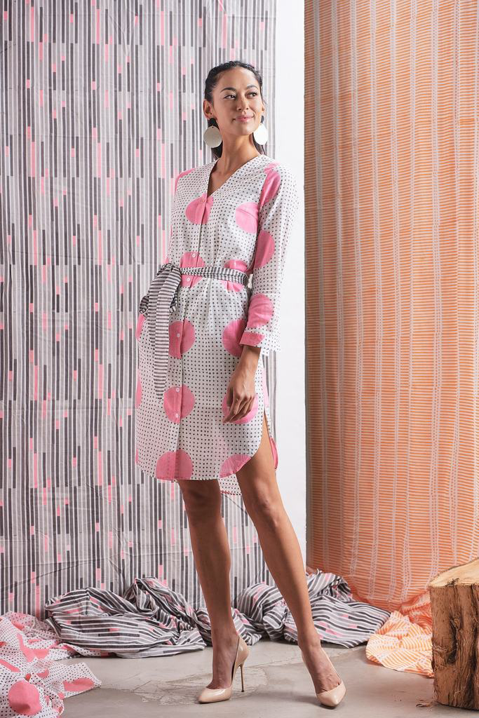 Gulaabee Organic Cotton Shirtdress in Pink