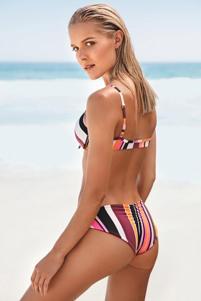 G&T Eco-Friendly Lycra Bikini Top in Striped Print