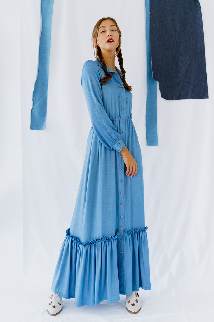 Grand Pacific Vegan Dress in Blue