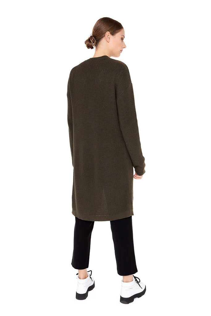 Ruby Organic Cotton Cardigan in Khaki